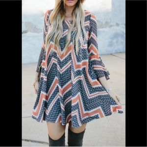 Anthro Paper Crown Bell Sleeve Chevron Print Dress